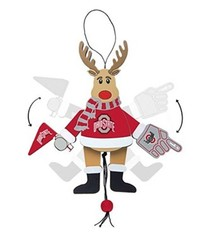 Ohio State University Wooden Cheer Rudolph Ornament