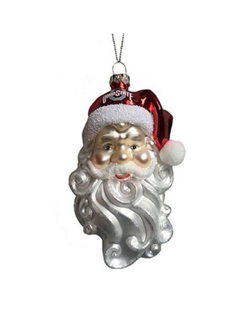 Ohio State University Glass Santa Ornament