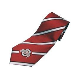 Ohio State University Woven Polyester Stripe Tie