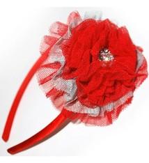 Scarlet and Gray Rhinestone Bow Headband