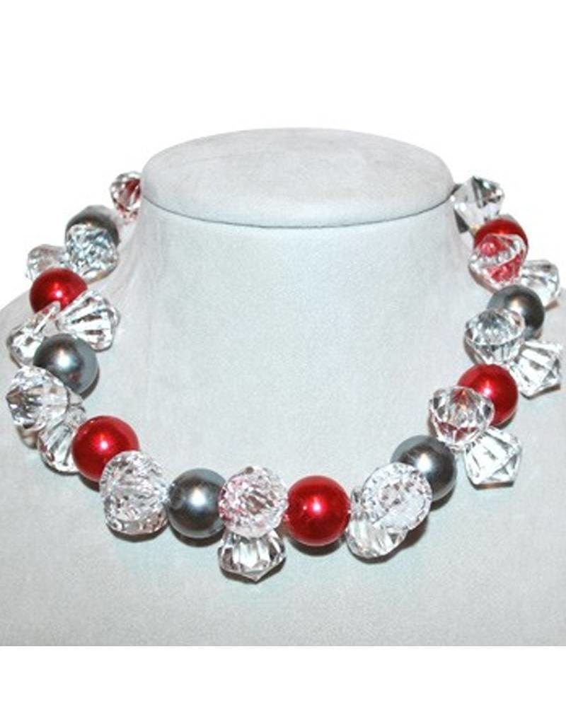 Scarlet and Gray Bling Necklace