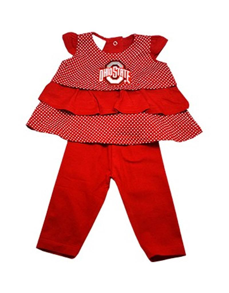 Ohio State University Ruffle Shirt and Pants Set