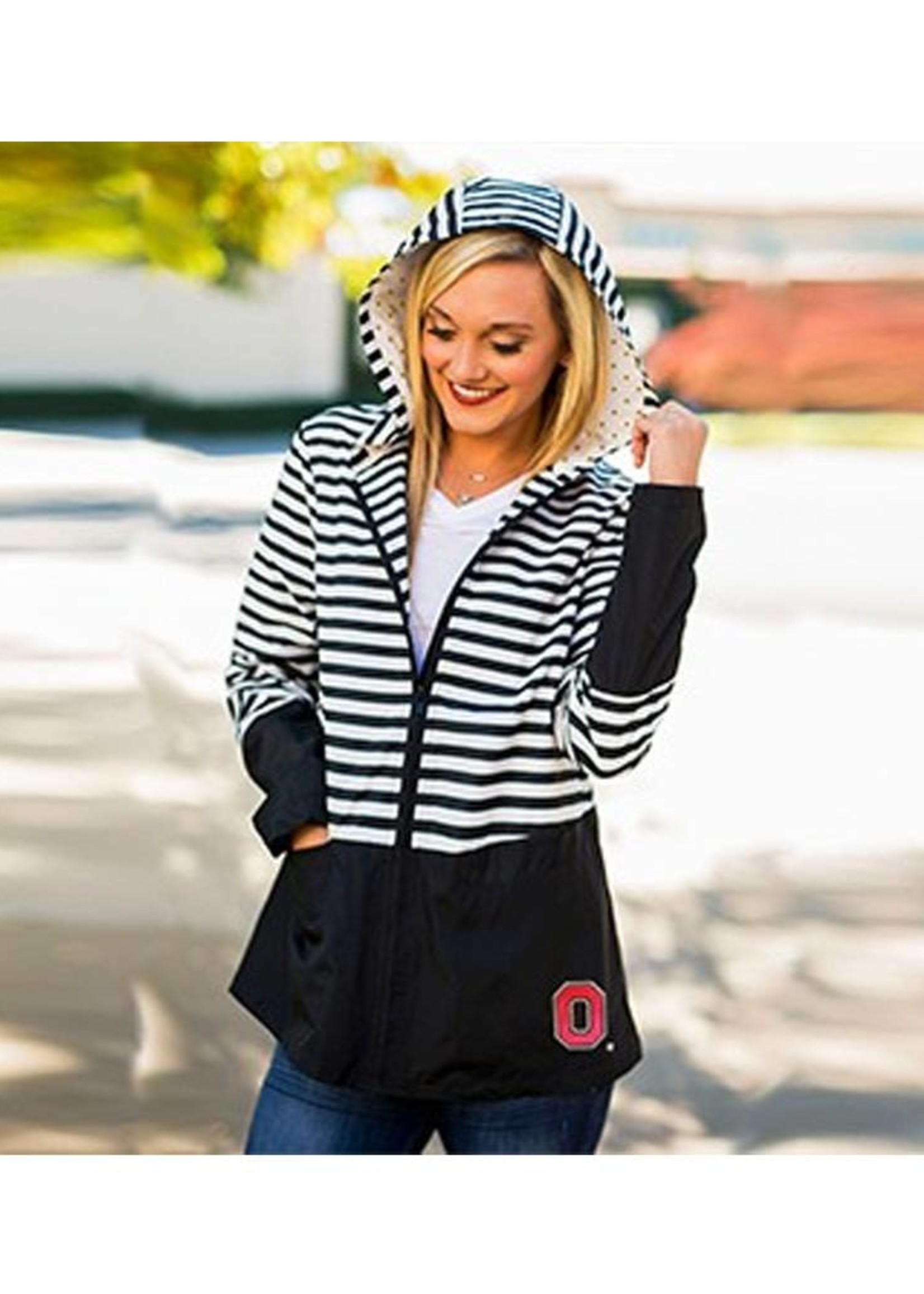 """Gameday Couture Ohio State University """"On The Move"""" Striped Packable Rain Jacket"""