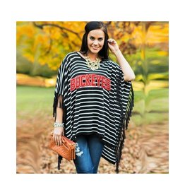 Gameday Couture Ohio State University Fringe Poncho