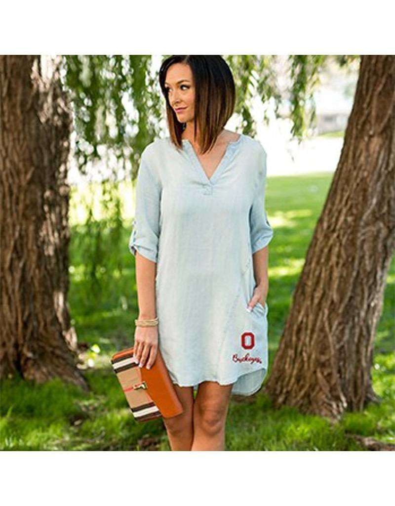 Gameday Couture Ohio State University Chambray Denim Dress
