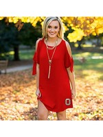 Gameday Couture Ohio State University Flawless Flow Cold Shoulder Dress