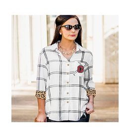 Gameday Couture Ohio State University Wild About Plaid Button Down Top