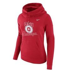 Nike Ohio State University Women's Red Club Funnel Hooded Sweatshirt