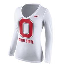 Nike Ohio State University Women's Block O V Neck Long Sleeve
