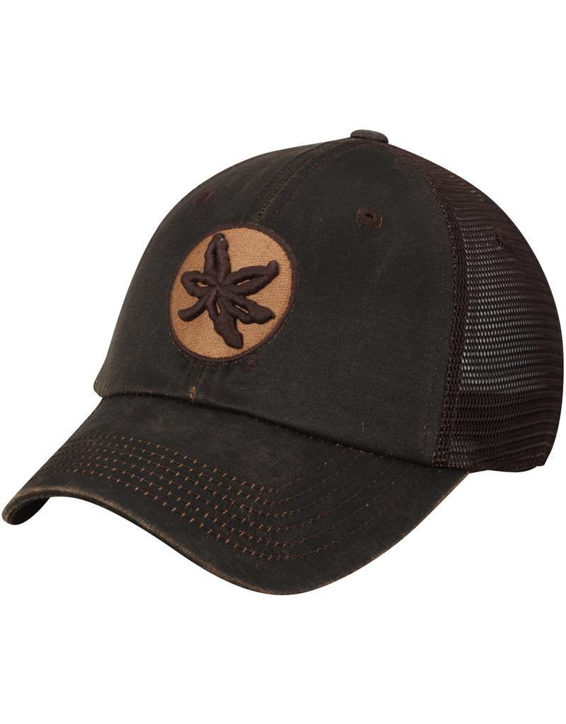 27a170f7973 Top of the World Ohio State Buckeyes Chesnut Waxed Cotton Trucker  Adjustable Hat ...