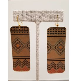 Bar Earrings Gold Tribal