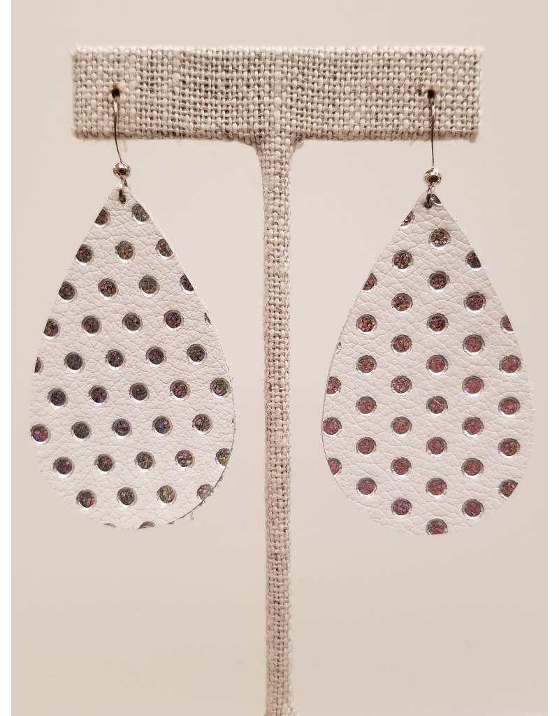 Darling White w Irid Polka Dot Earrings