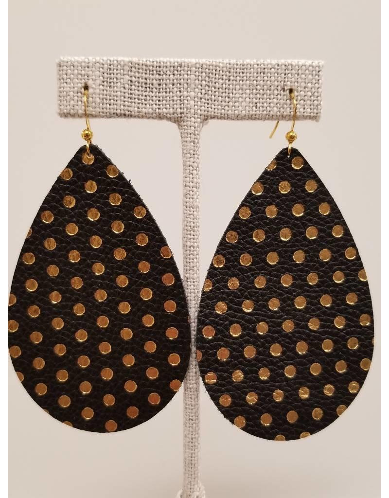 Daring Black w Gold Polka Dot Earrings