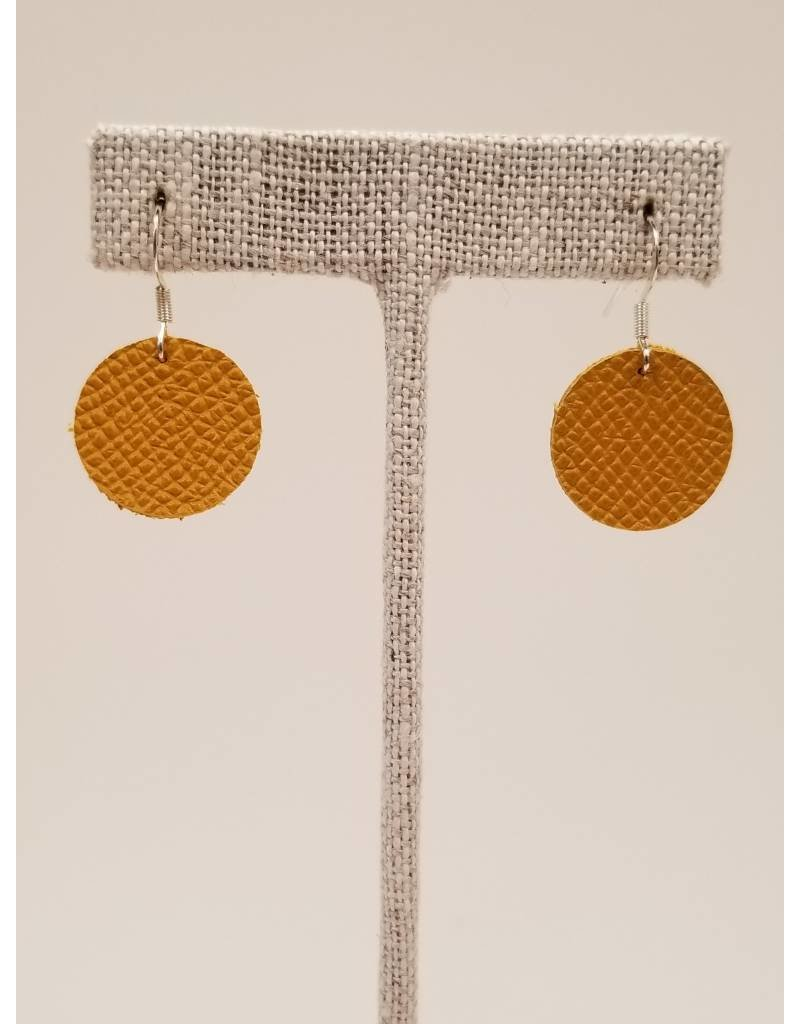 Dew Drops Earrings Saffiano Mustard