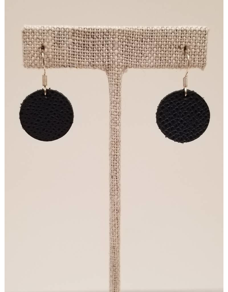 Dew Drops Earrings Saffiano Navy