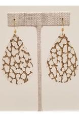 Darling Earrings White w Gold Embellishment