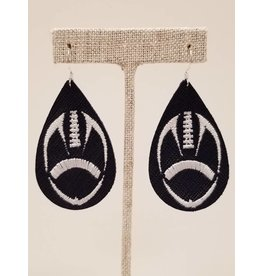 Embroidered Blue & White Football Earrings