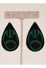 Embroidered Green & Black Football  Earrings
