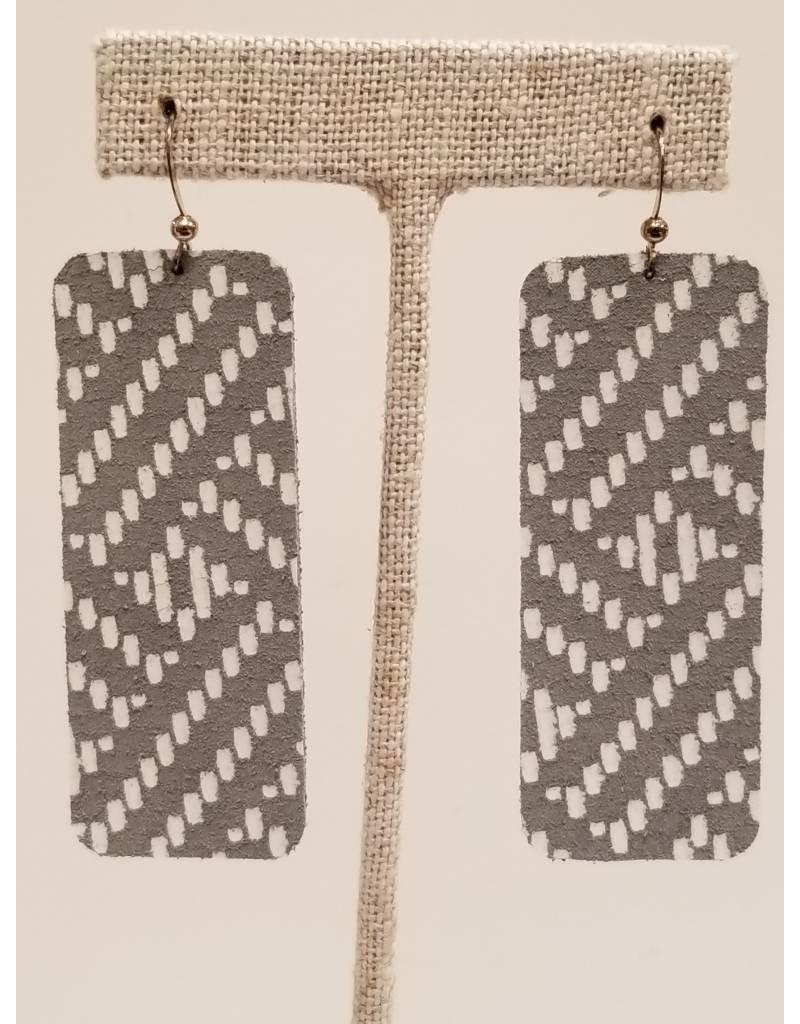 Bar Earrings Gray Basketweave