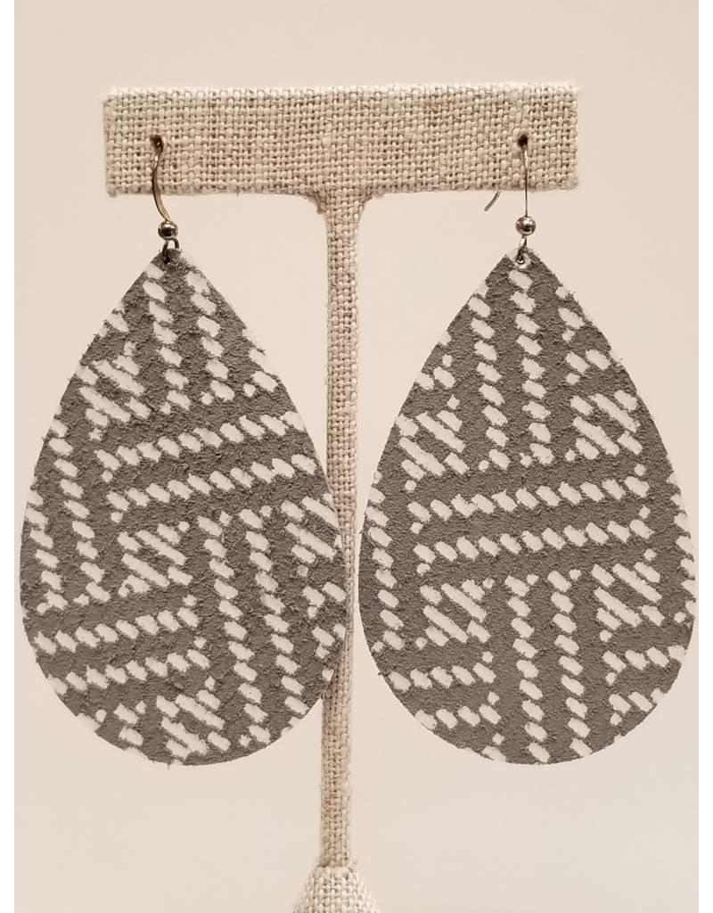 Daring Earrings Gray Basketweave