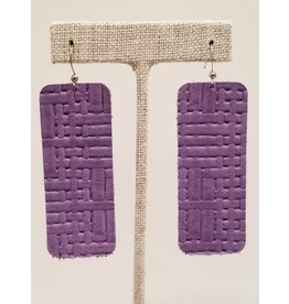 Bar Earrings Purple Basketweave
