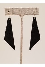 Dream Sparkly Black Leather Earrings