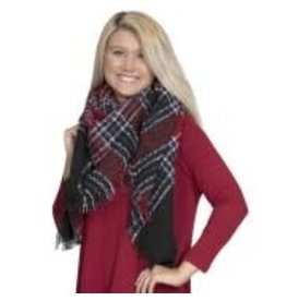 Plaid Woven Shawl Navy Red