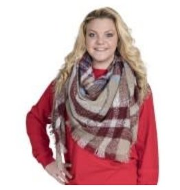 Plaid Woven Shawl Camel Red