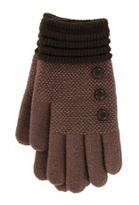 Knit Button Gloves Brown