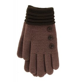 Knit Button Gloves Brown