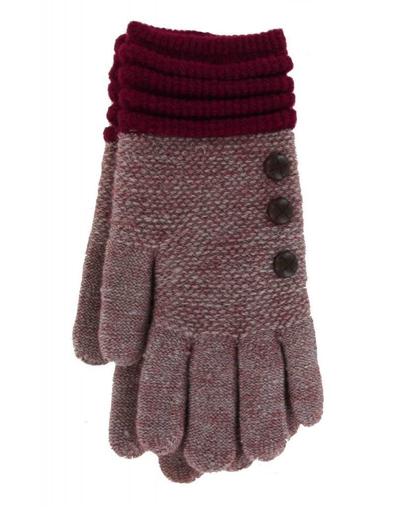 Knit Button Gloves Burgundy