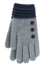 Knit Button Gloves Grey