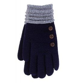 Knit Button Gloves Navy