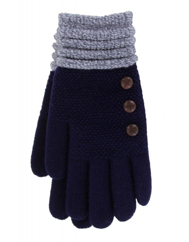 Knit Button Gloves Navy