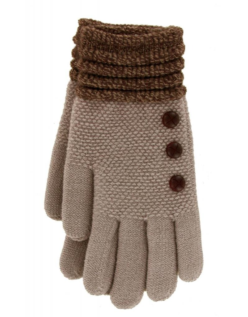Knit Button Gloves Taupe