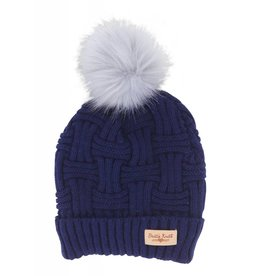 Hat W/Natural Pom Navy
