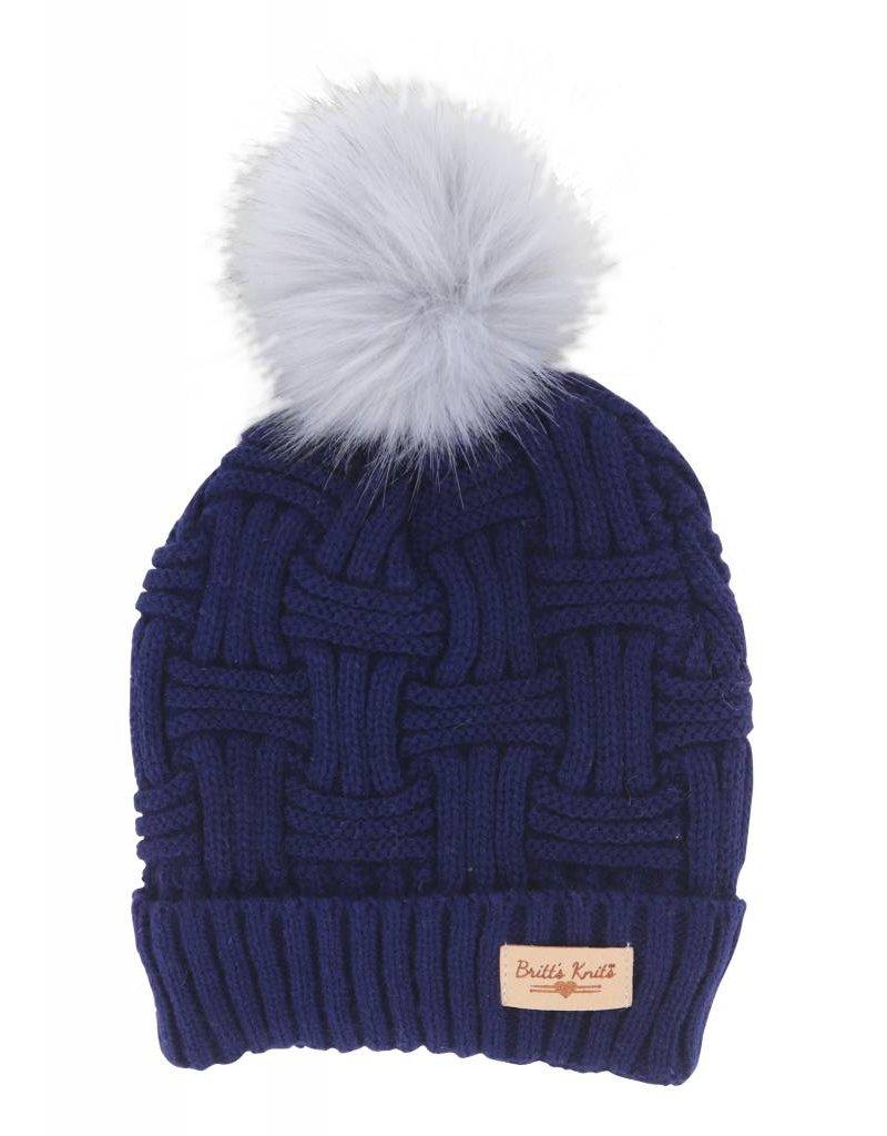 Hat W/Natural Pom Navy