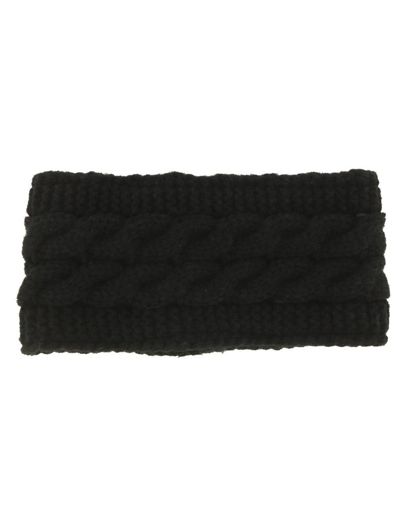 Lined Knit Head Warmer Black