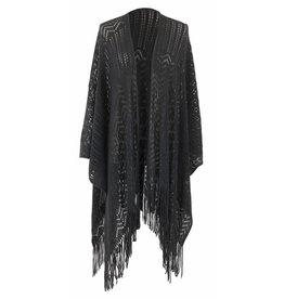 Open Weave Ruana Wrap Charcoal