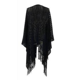 Open Weave Ruana Wrap Black