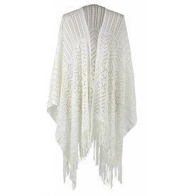 Open Weave Ruana Wrap Ivory