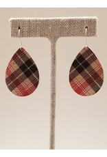 Dainty Earrings Taupe Flannel Plaid