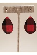 Dainty Earrings Buffalo Check Red