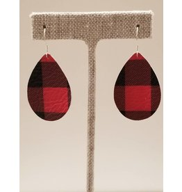 Dainty Earrings Buffalo Check Red