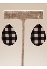 Dainty Earrings Buffalo Check Black White