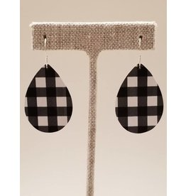 Dainty Earrings Buffalo Check Black White