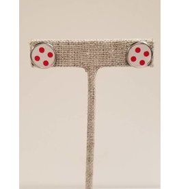 Silver Stud Earring Red Polka Dot