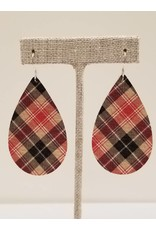 Darling Earrings Taupe Plaid