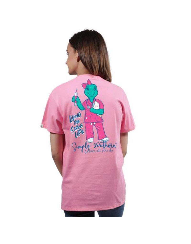 SS Tee Turtle Scrub Nurse Flamingo M