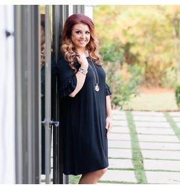 Mary Square Black Ruffle Short Sleeve Dress S